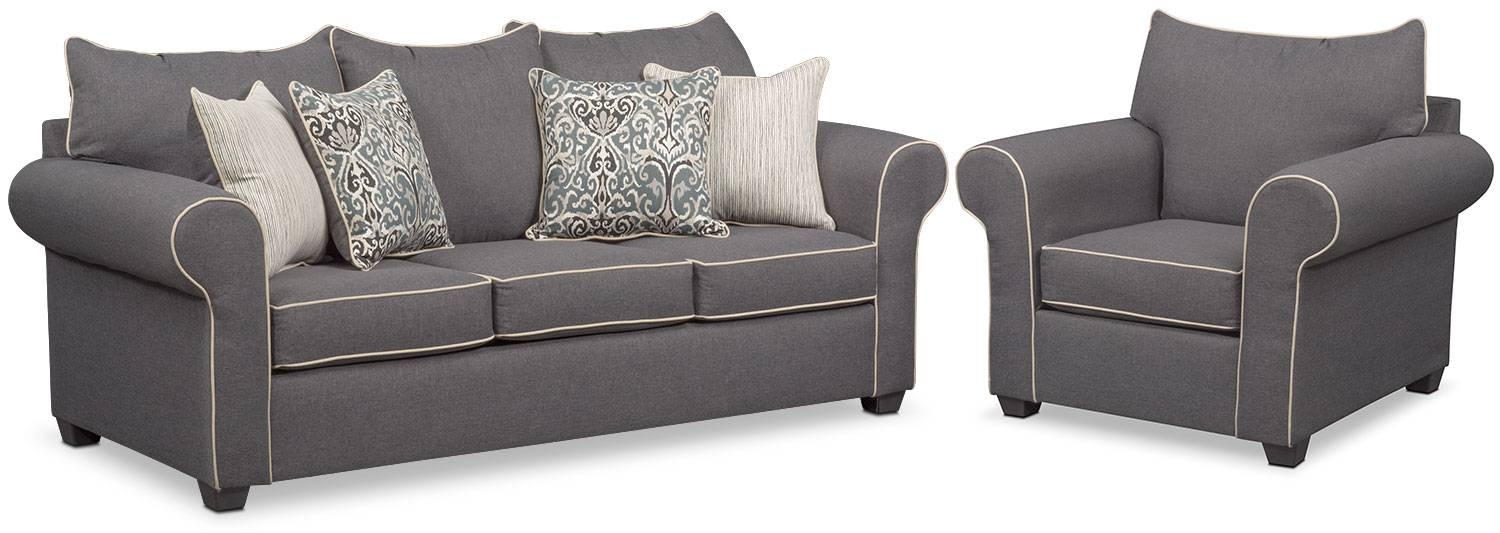Carla Sofa And Chair Set – Gray | Value City Furniture Inside Sofa And Chair Set (View 10 of 30)