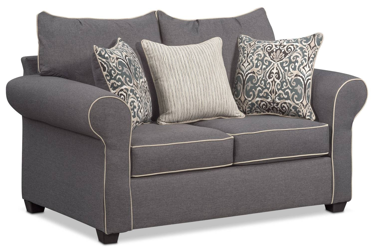 Carla Sofa, Loveseat, And Chair Set – Gray | Value City Furniture In Sofa Loveseat And Chair Set (View 8 of 30)