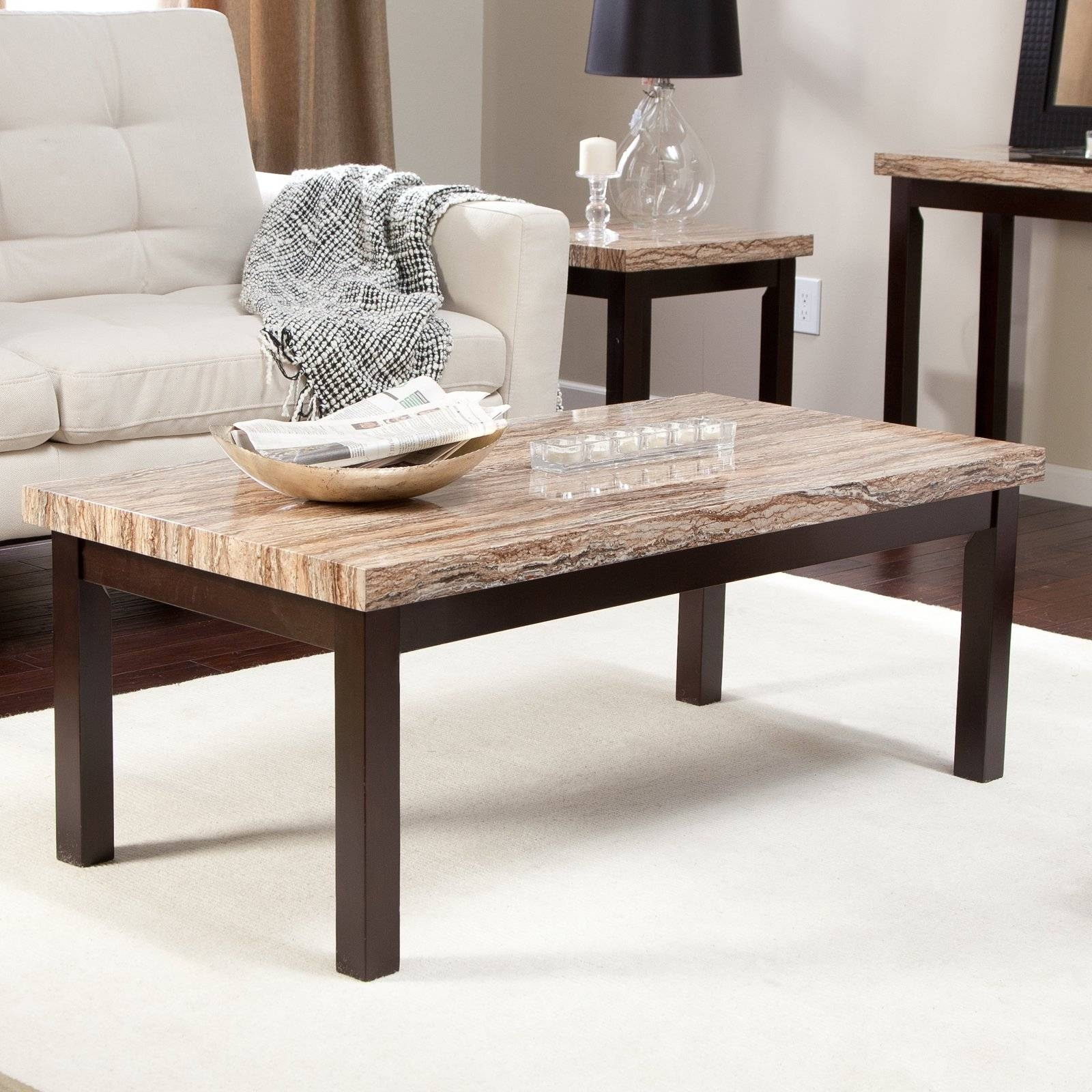 Carmine Faux Marble Coffee Table | Hayneedle throughout Marble Coffee Tables (Image 6 of 30)