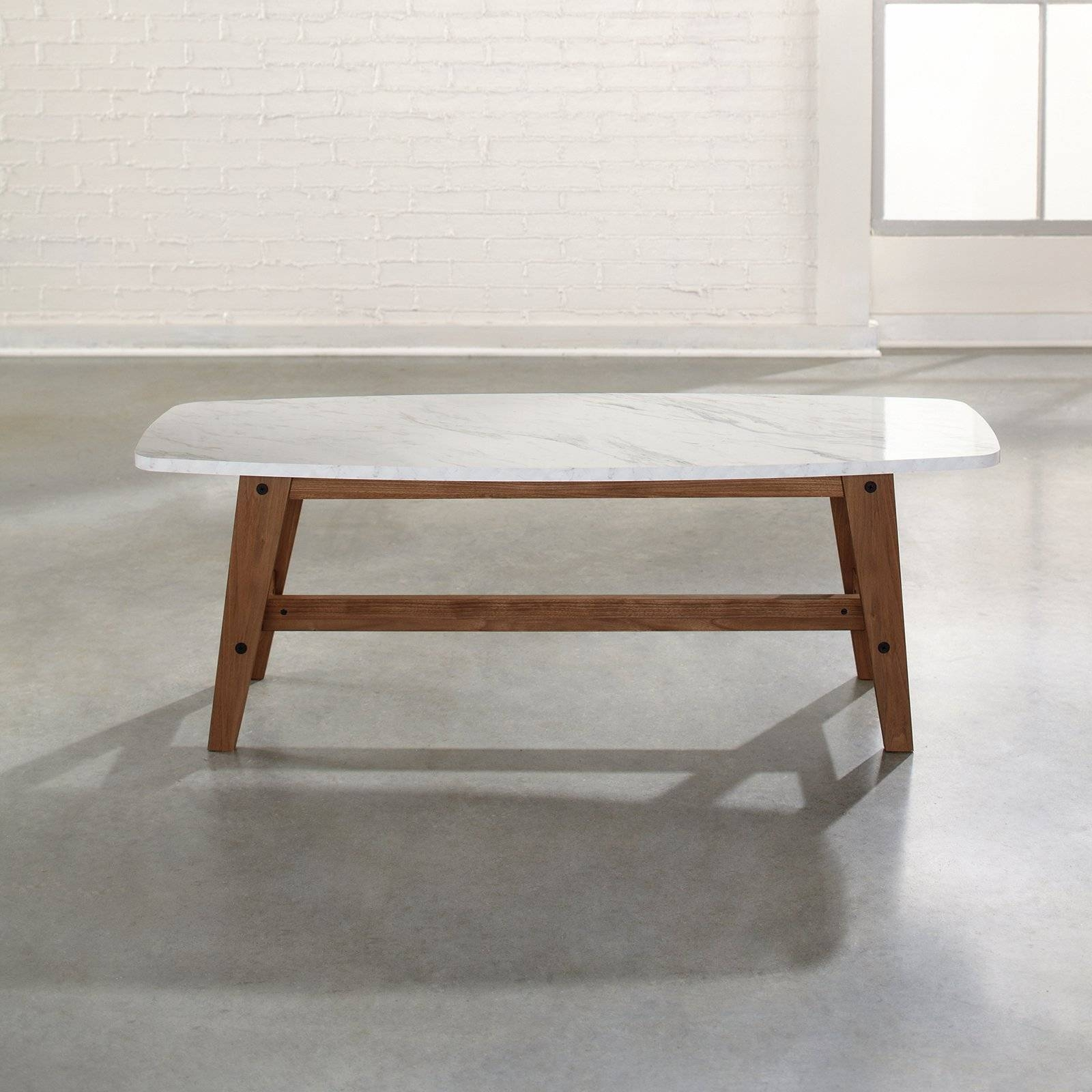 Carmine Faux Marble Coffee Table | Hayneedle with Marble Coffee Tables (Image 7 of 30)