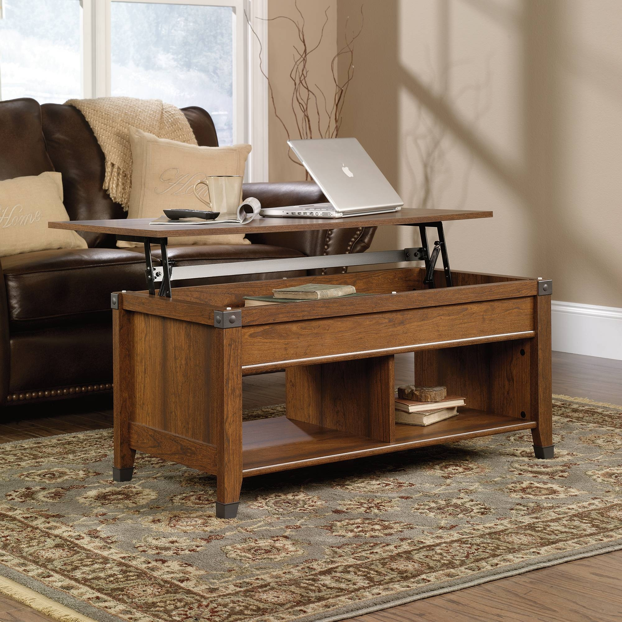 Carson Forge | Lift-Top Coffee Table | 414444 | Sauder pertaining to Corner Coffee Tables (Image 6 of 30)