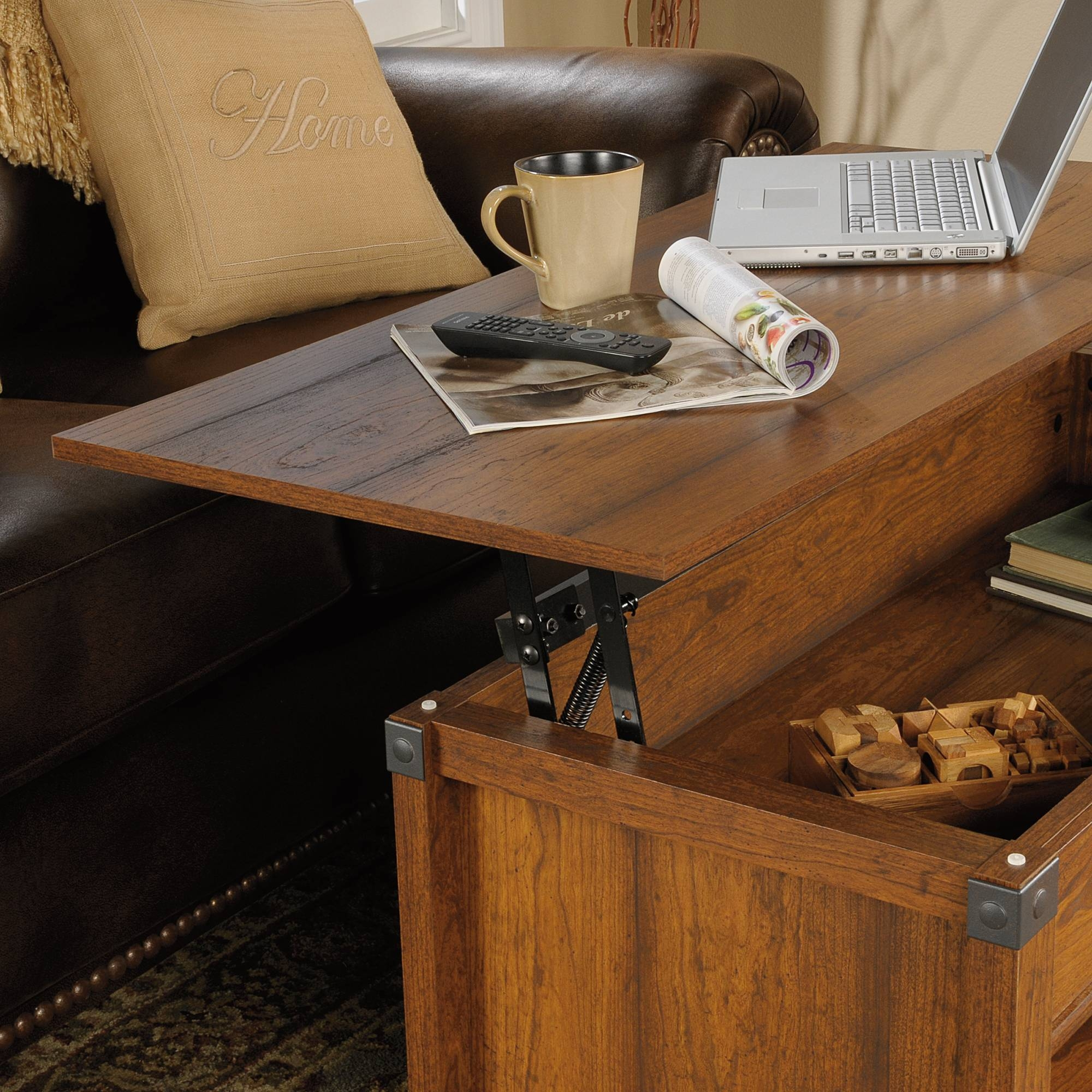 Carson Forge | Lift-Top Coffee Table | 414444 | Sauder pertaining to Lift Coffee Tables (Image 5 of 30)