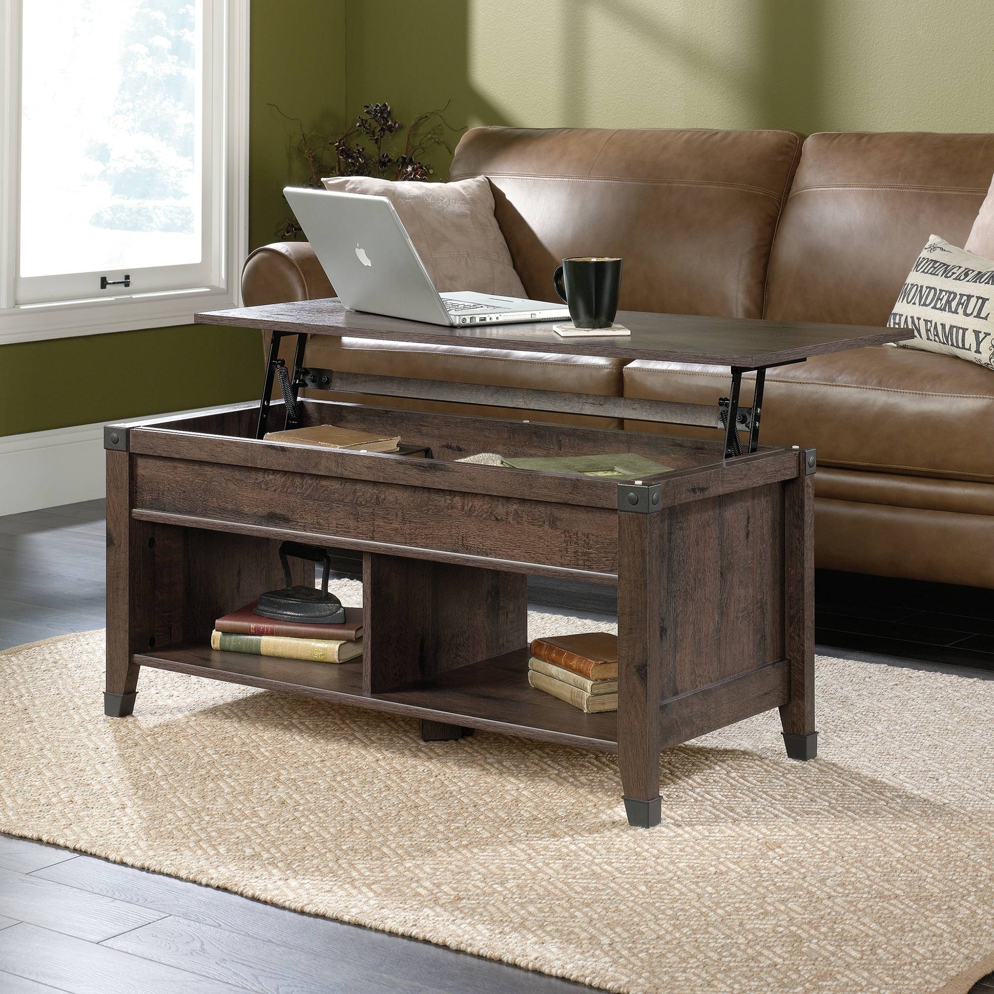 Carson Forge | Lift Top Coffee Table | 420421 | Sauder Within Opens Up Coffee Tables (View 7 of 30)