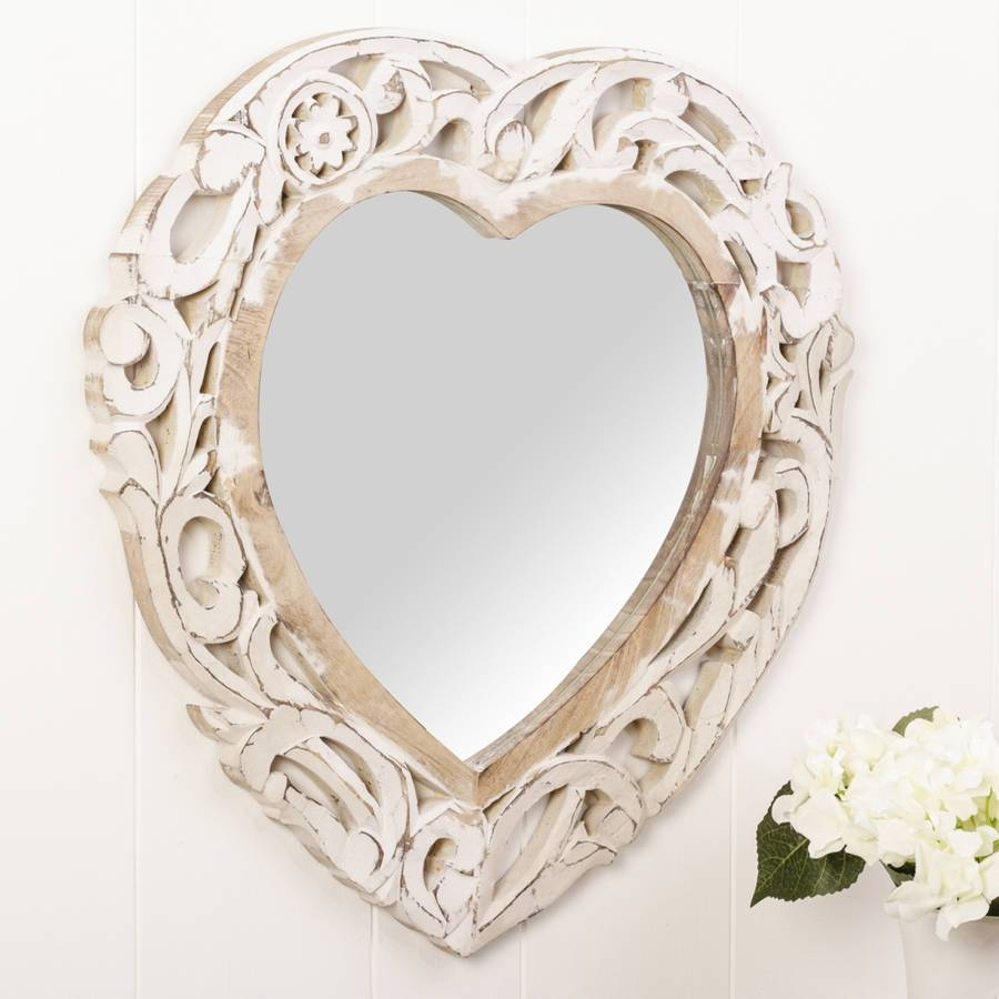 Carved Heart White Wooden Wall Mirrordibor intended for Heart Wall Mirrors (Image 5 of 25)