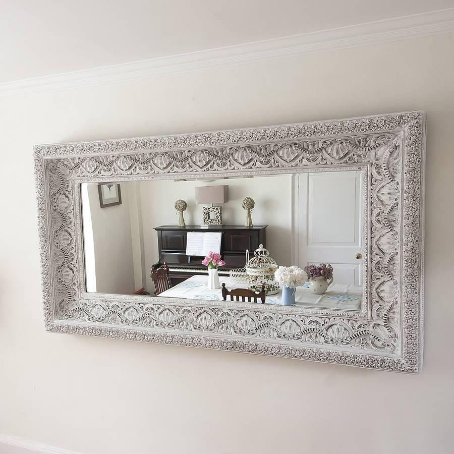 Carved White 'shabby Chic' Mirrordecorative Mirrors Online in White Decorative Mirrors (Image 8 of 25)