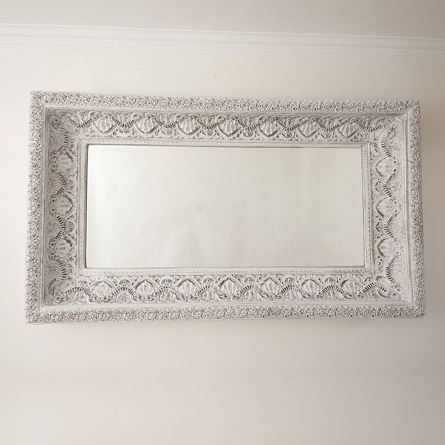 Carved White 'shabby Chic' Mirrordecorative Mirrors Online within White Decorative Mirrors (Image 9 of 25)