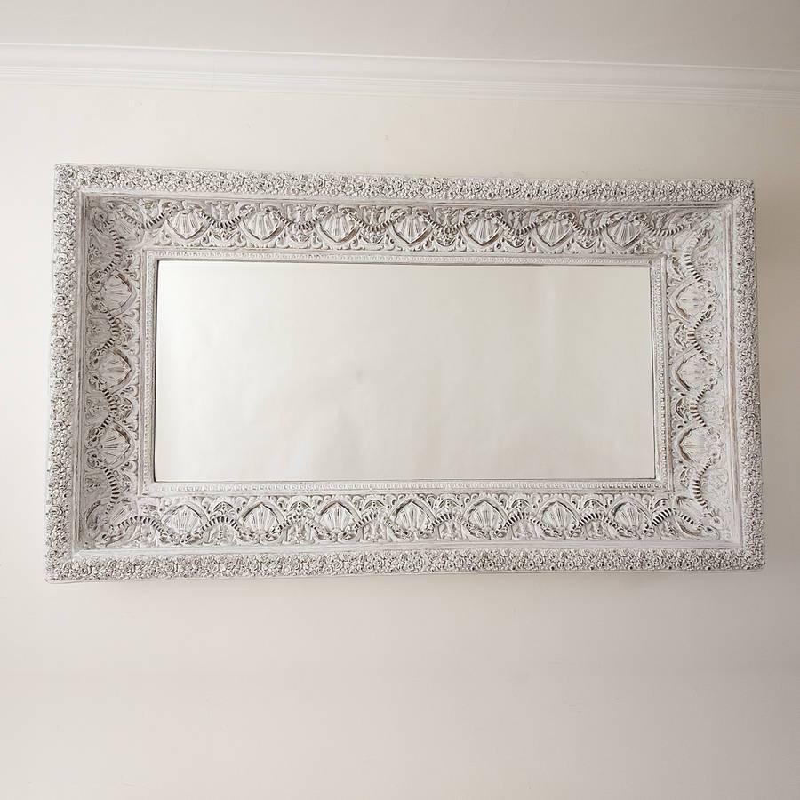 Carved White 'shabby Chic' Mirrordecorative Mirrors Online within White Decorative Mirrors (Image 9 of 25)