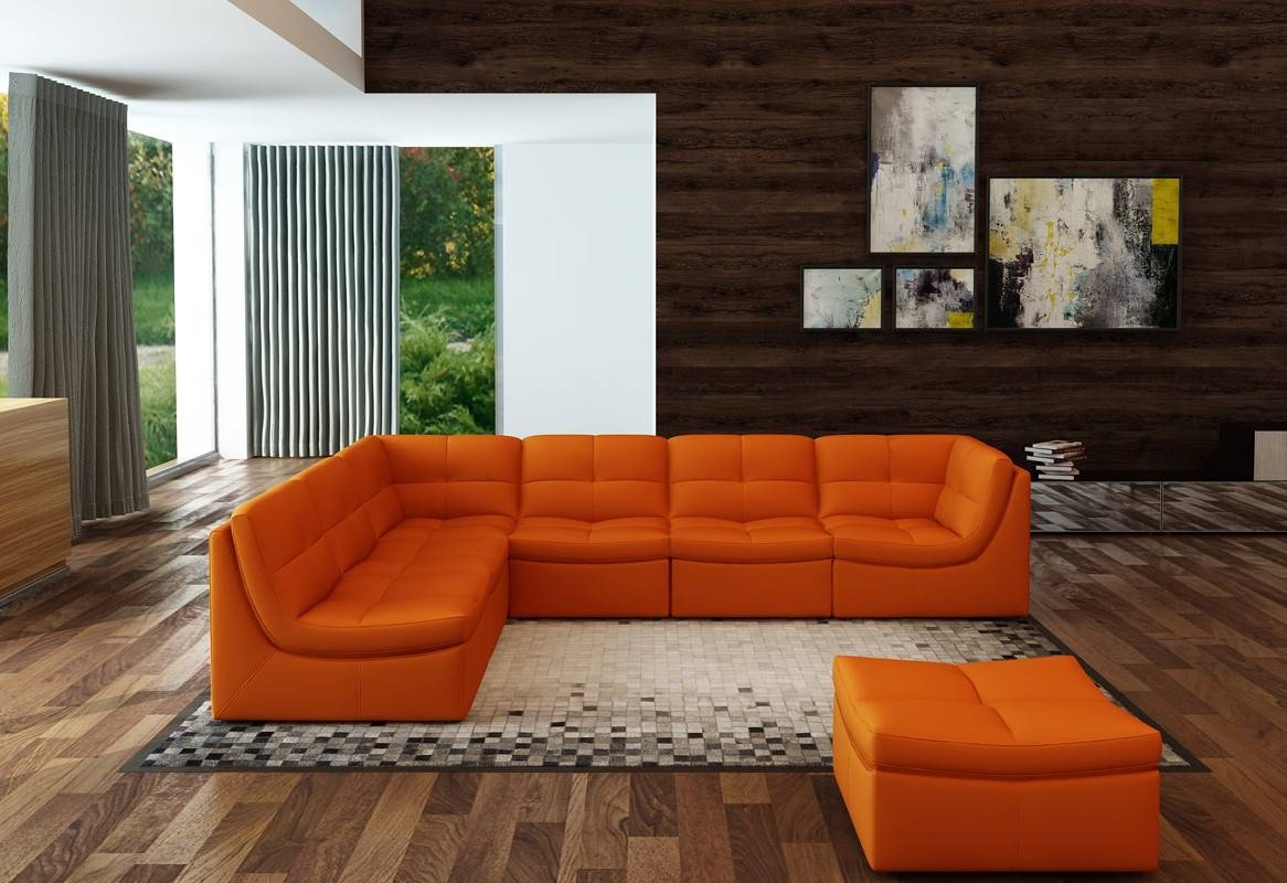 Casa 207 Modern Orange Bonded Leather Sectional Sofa In Orange Sectional Sofa (View 8 of 30)
