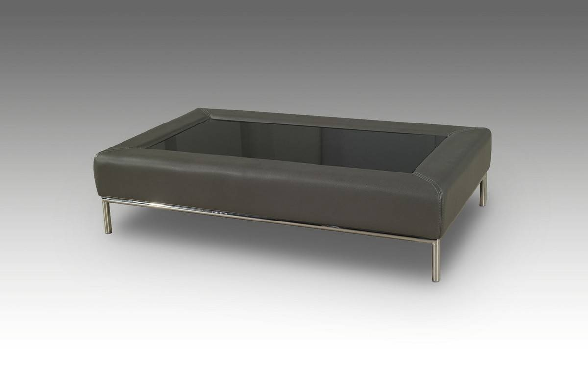 Casa 8054 Modern Grey Bonded Leather Coffee Table W/ Glass Top regarding Grey Coffee Tables (Image 8 of 30)