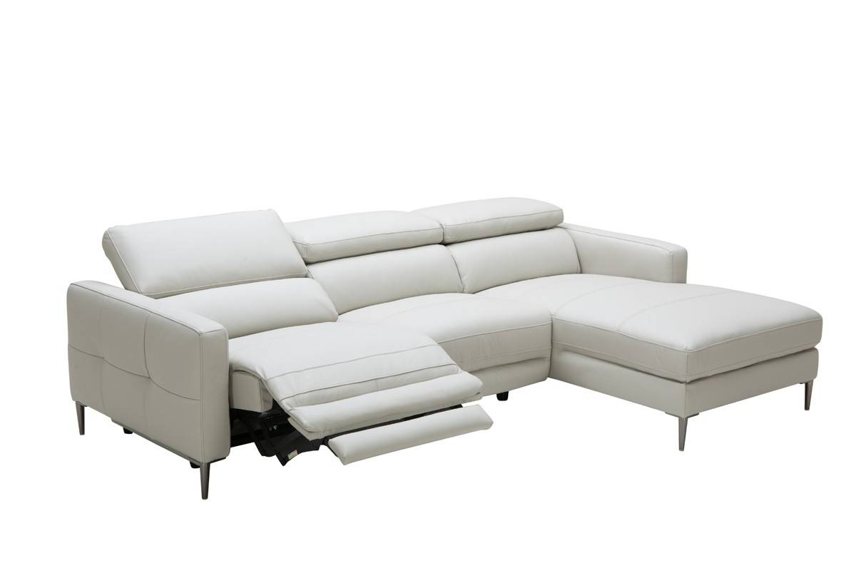 Casa Booth Modern Light Grey Leather Sectional Sofa W/ Electric inside Sectional Sofas With Electric Recliners (Image 4 of 30)