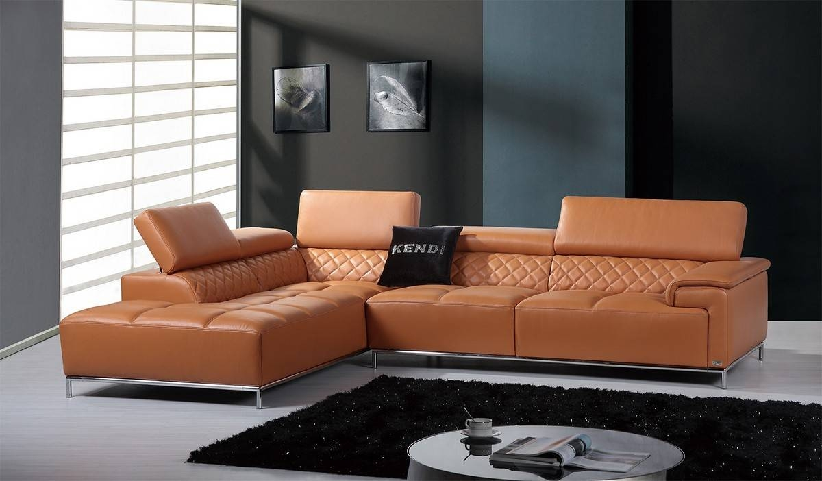 Casa Citadel Modern Orange Leather Sectional Sofa With Orange Sectional Sofa (View 10 of 30)