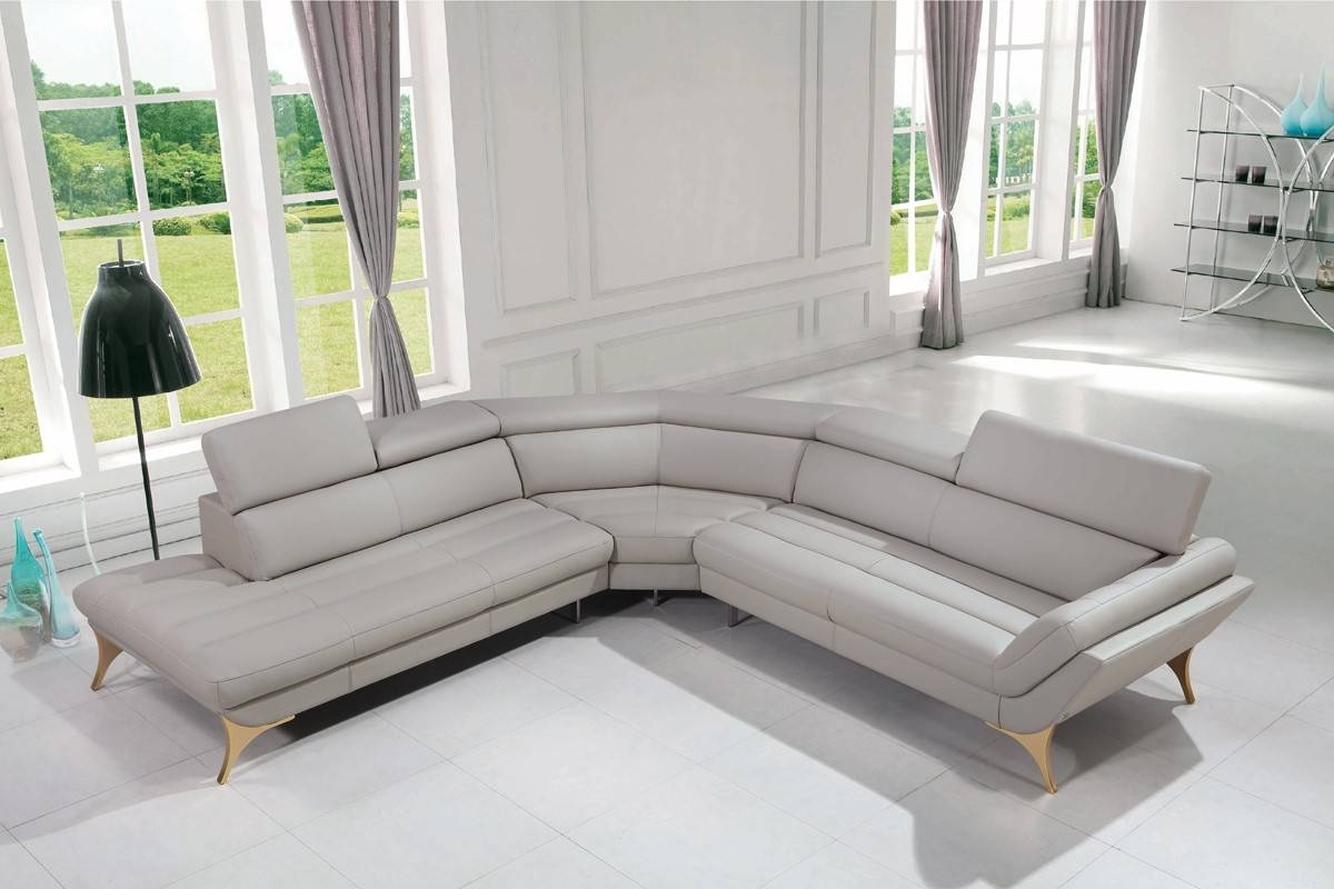 Casa Graphite Modern Grey Leather Sectional Sofa for Gray Leather Sectional Sofas (Image 2 of 30)