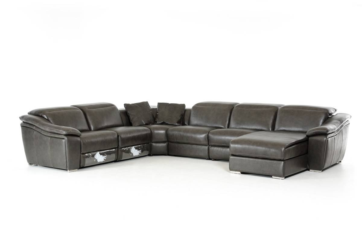 Casa Jasper Modern Dark Grey Leather Sectional Sofa for Gray Leather Sectional Sofas (Image 3 of 30)
