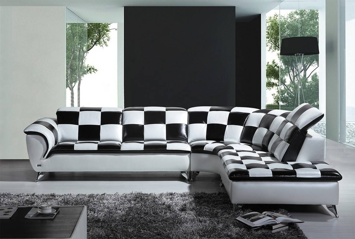 Casa K8478 Modern Black And White Checkered Leather Sectional Sofa in White And Black Sofas (Image 16 of 30)
