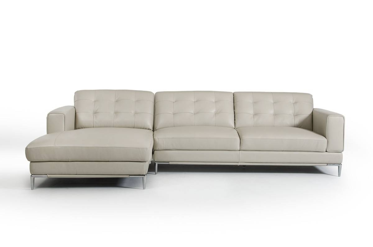 Casa Larkspur Modern Light Grey Leather Sectional Sofa in Gray Leather Sectional Sofas (Image 4 of 30)