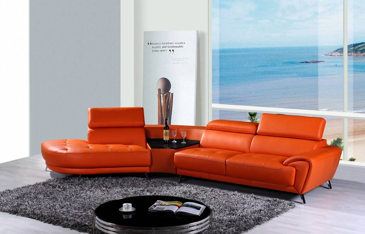 Casa Raizel Modern Orange Leather Sectional Sofa W/ Left Facing Chaise Within Orange Sectional Sofa (View 12 of 30)