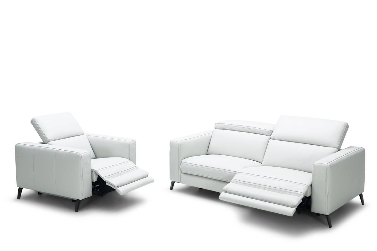Casa Roslyn Modern White Leather Sofa Set W/ Recliners with regard to White Modern Sofas (Image 5 of 30)