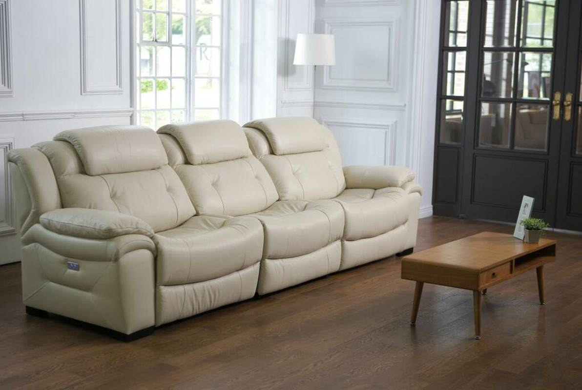 Casa Samson Modern Ivory Leather Sofa W/ Electric Recliners regarding Ivory Leather Sofas (Image 5 of 30)