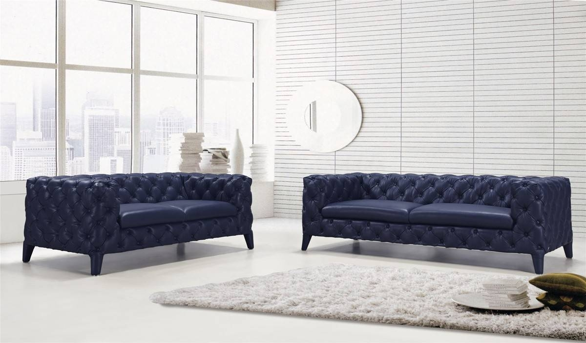 Casa Soma Modern Blue Tufted Leather Sofa Set regarding Blue Tufted Sofas (Image 10 of 30)
