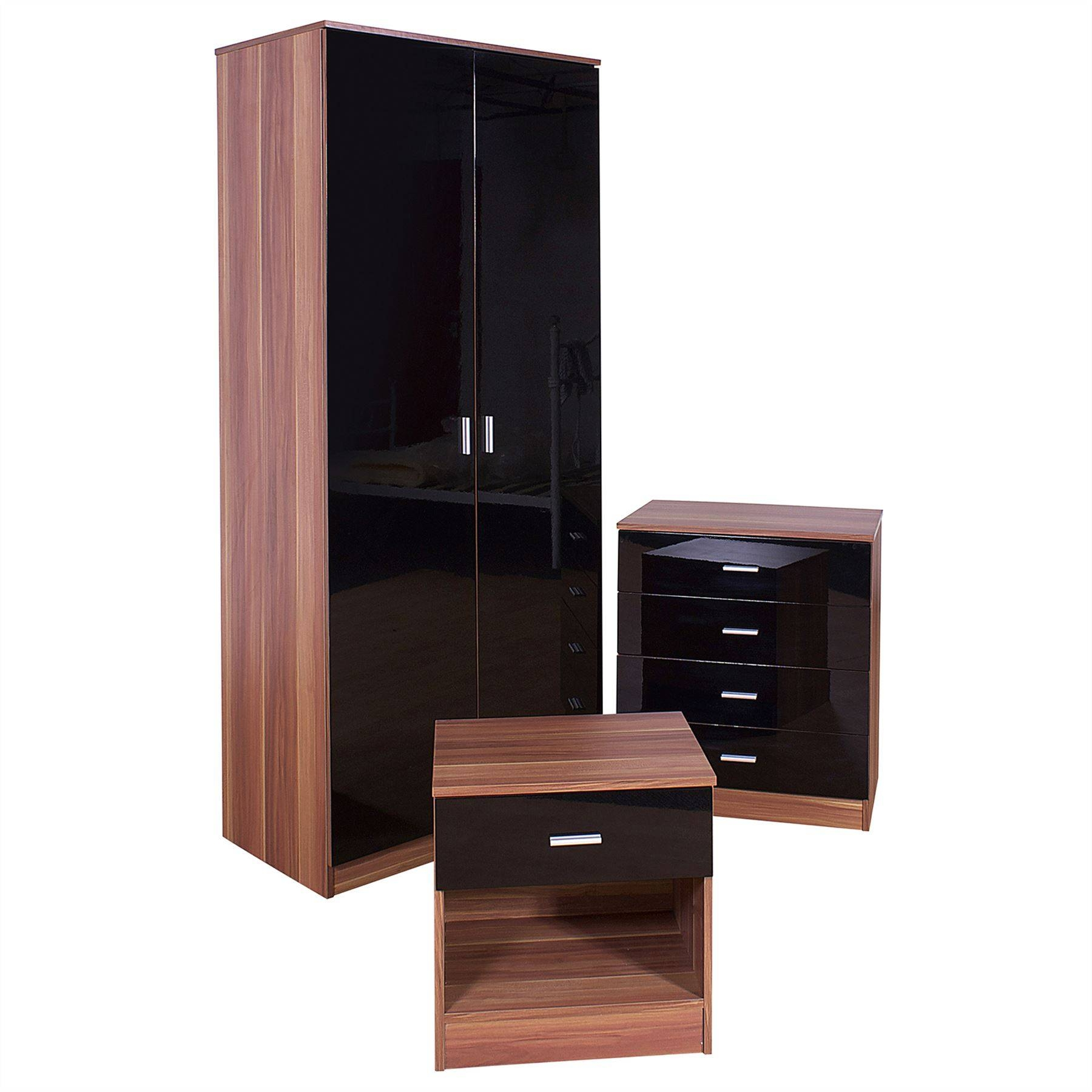 Caspian High Gloss Black Walnut Bedroom Furniture Set intended for Wardrobes Sets (Image 9 of 15)