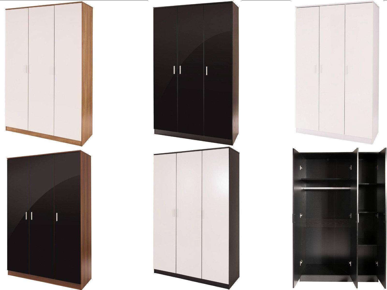 Caspian Supreme High Gloss 3 Door Wardrobes With Shelves Black Oak throughout Black Gloss 3 Door Wardrobes (Image 4 of 15)