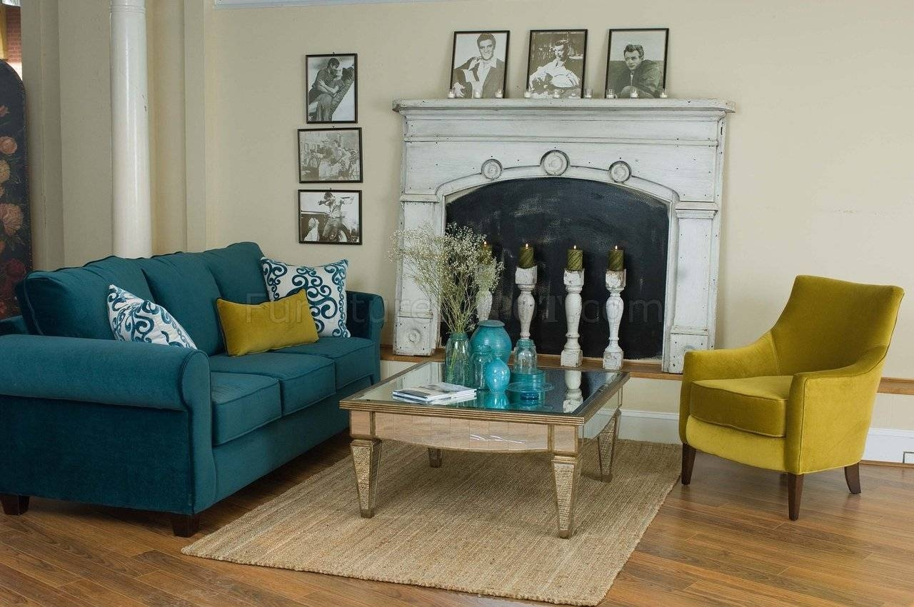Casual Fabric Living Room Blue Sofa & Golden Green Chair Set within Blue Sofa Chairs (Image 14 of 30)