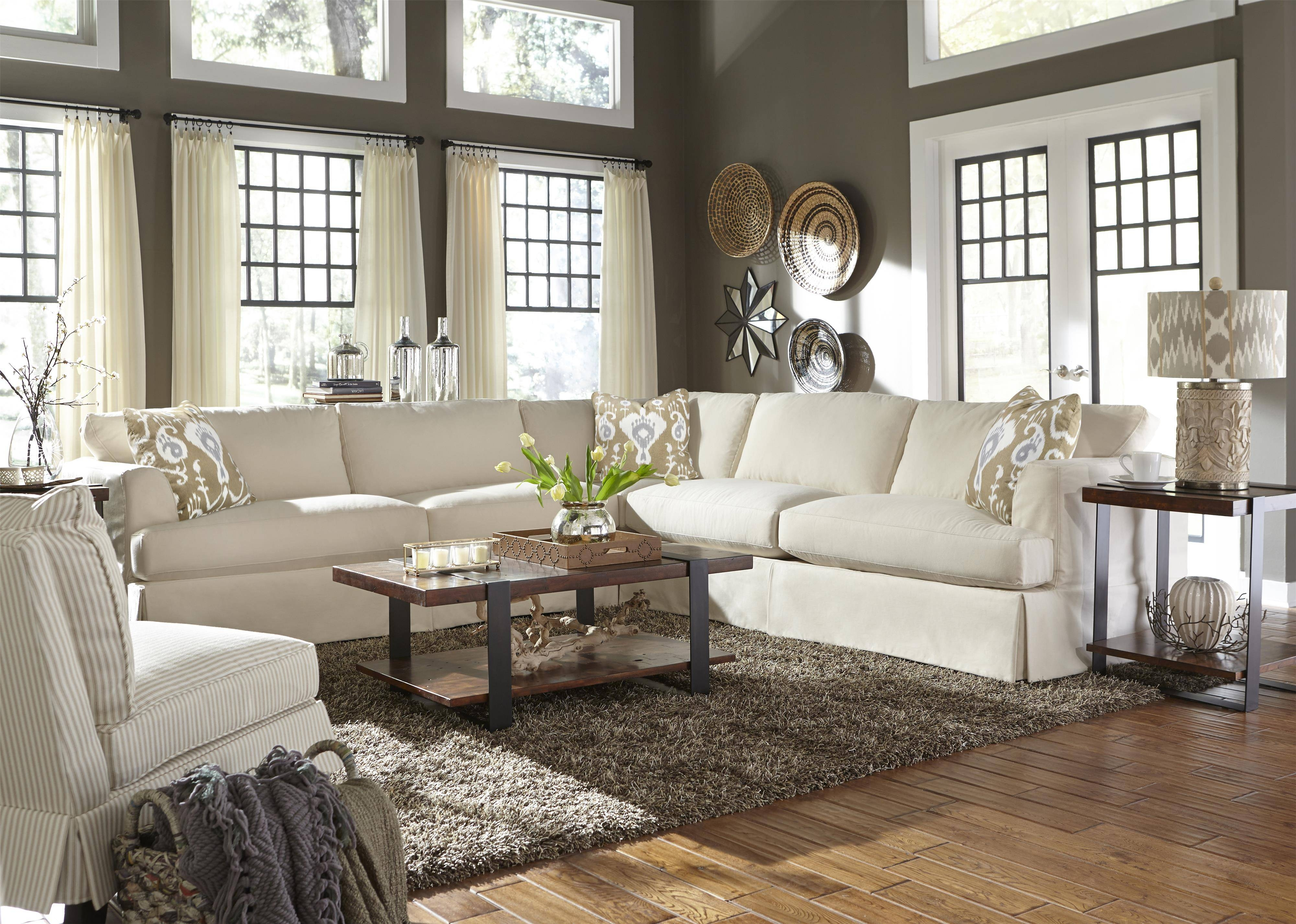 Casual Sectional Sofa With Slip Coverklaussner | Wolf And throughout Down Sectional Sofa (Image 2 of 25)