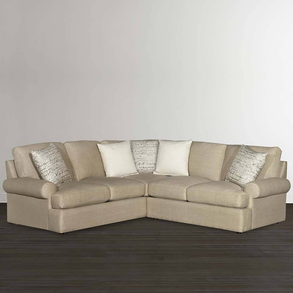 Casual Tan L Shaped Sectional | Bassett Home Furnishings in Down Filled Sectional Sofas (Image 3 of 30)