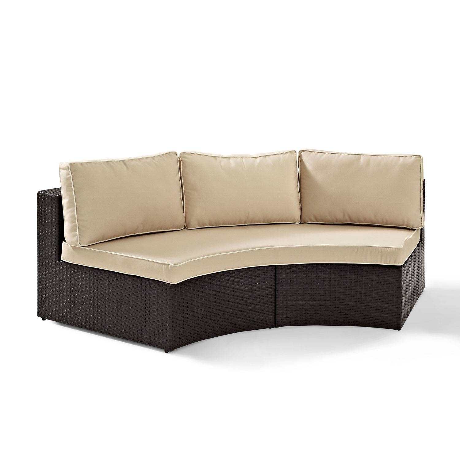 Catalina Outdoor Wicker Round Sectional Sofa With Sand Cushions for Round Sectional Sofa Bed (Image 4 of 25)