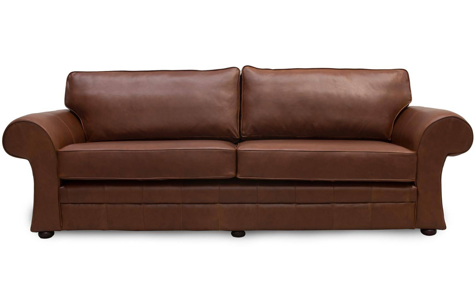 Cavan Scroll Arm Leather Sofa Made In Manchesterthe Leather inside Manchester Sofas (Image 5 of 30)