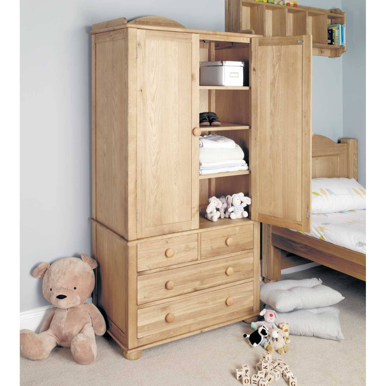 Cco13A Baumhaus Amelie Oak Childrens Kids Double Wardrobe With Drawers with regard to Kids Wardrobes With Drawers (Image 2 of 15)