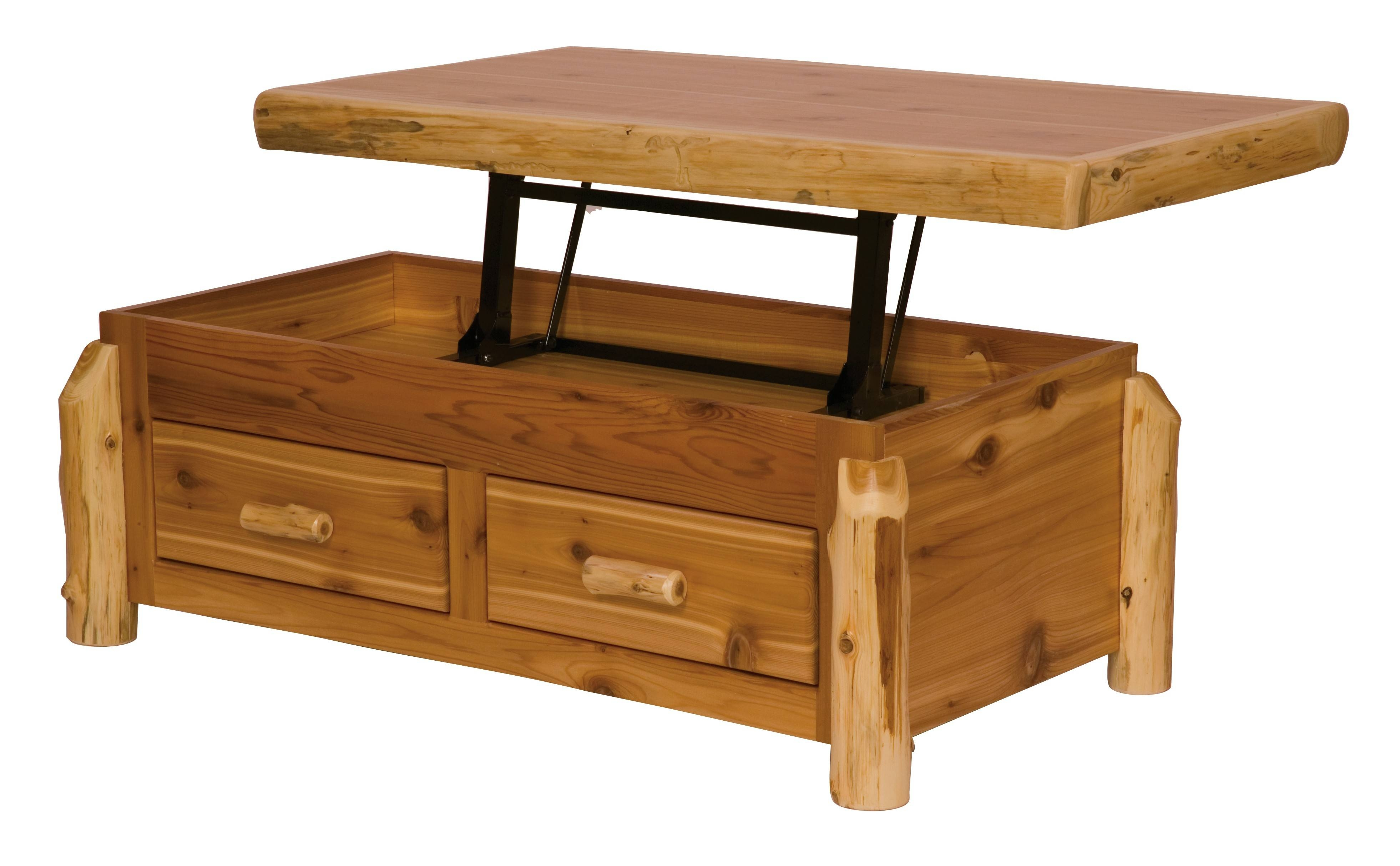 Cedar Enclosed Coffee Table With Elevating Top With Elevating Coffee Tables Photo 18 Of 30