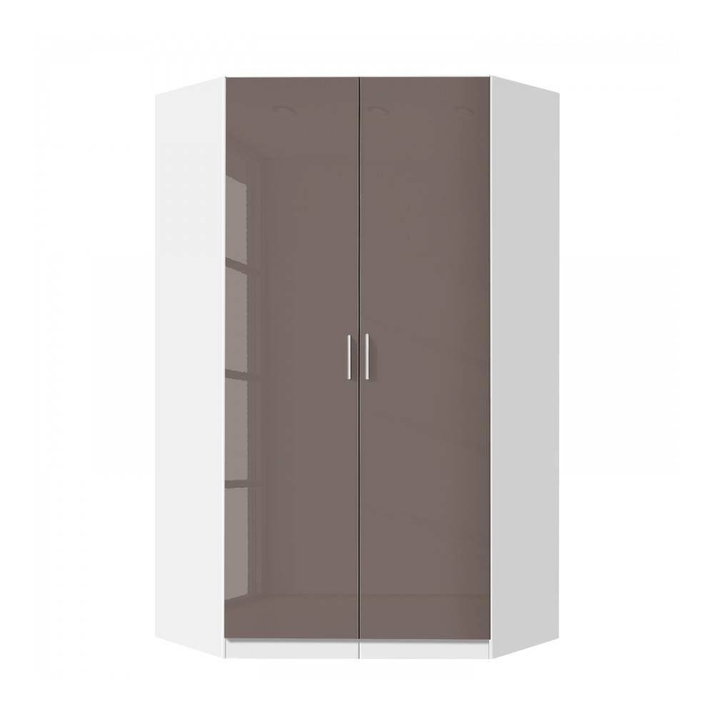 Celline High Gloss Lava Grey 2 Door Corner Wardrobe With Shelves For 2 Door Corner Wardrobes (View 2 of 15)
