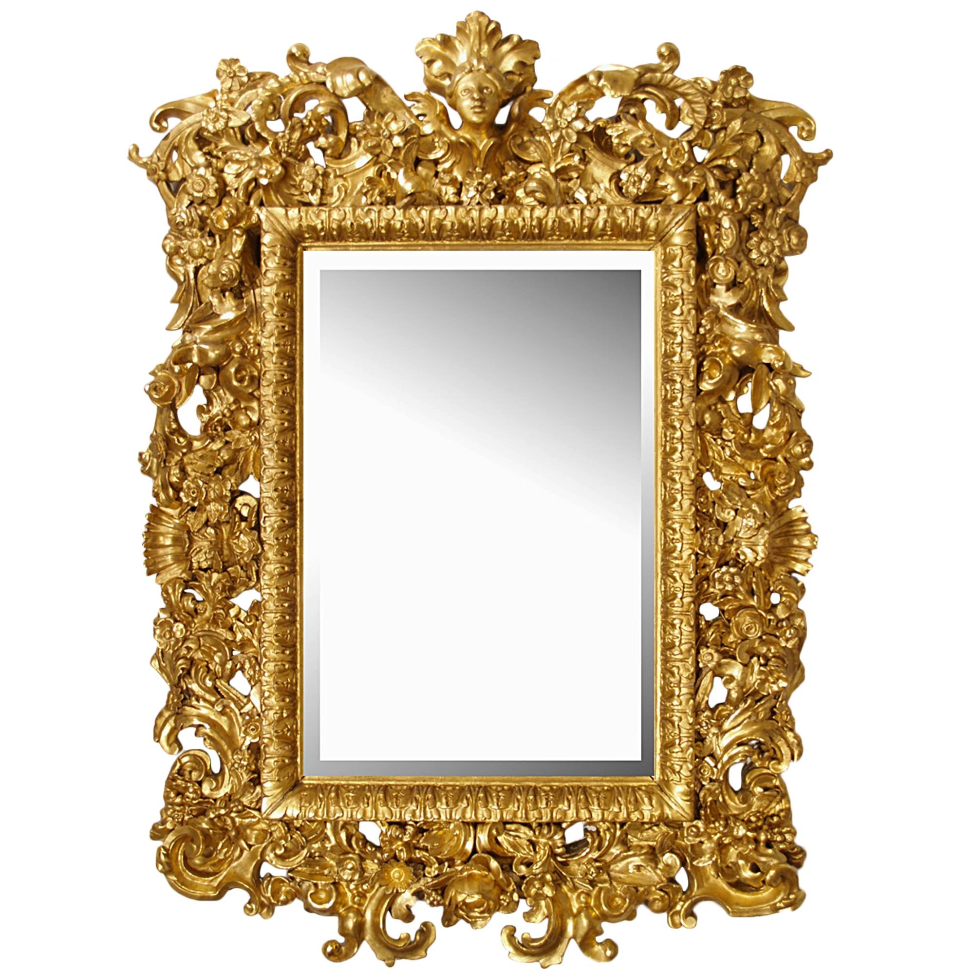 Century Italian Baroque All Giltwood Mirror with Baroque Mirrors (Image 11 of 25)