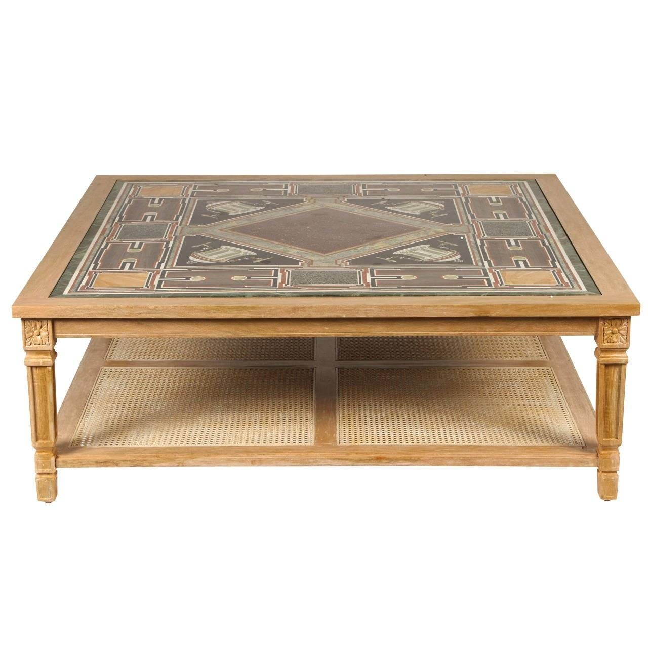 Cerused Mahogany Coffee Table With Inlaid Marble Top And Cane inside Mahogany Coffee Tables (Image 5 of 30)
