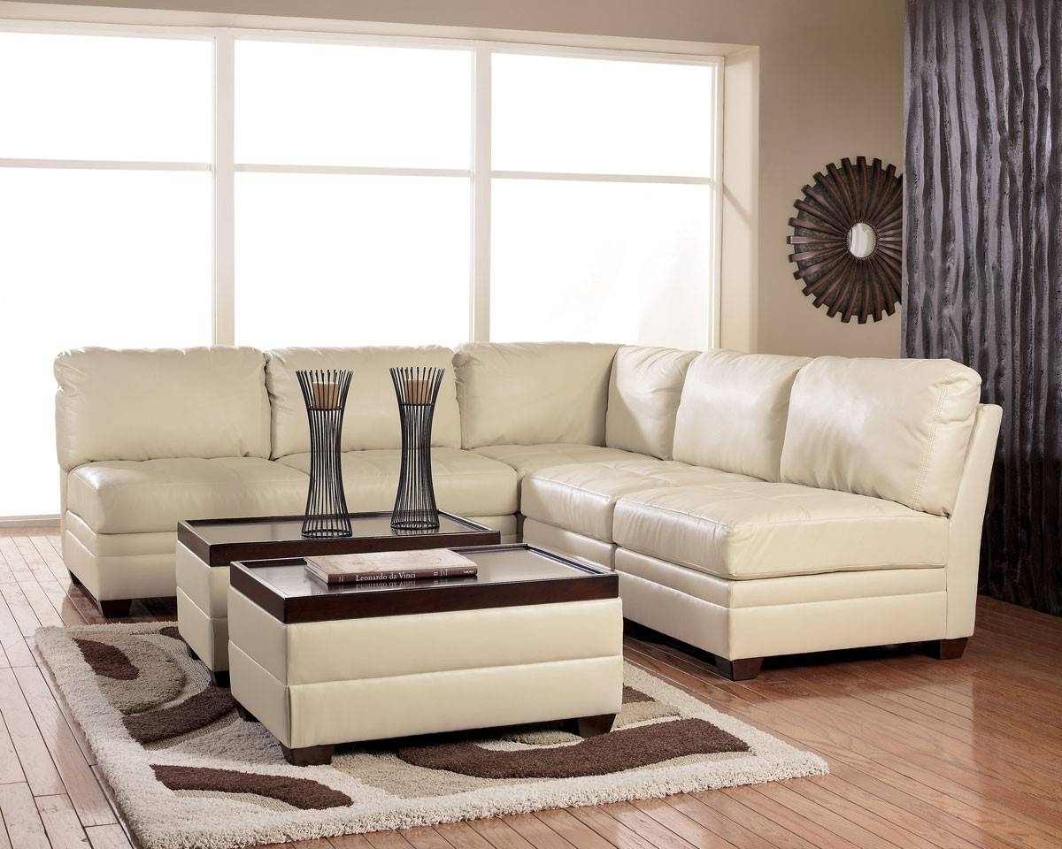 Chair & Sofa: Have An Interesting Living Room With Ashley throughout Cream Sectional Leather Sofas (Image 2 of 12)