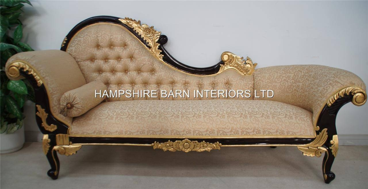 Chaise Longue Large Ornate Mahogany W Gold Cream Lounge Sofa Throughout French  Style Sofas (Image