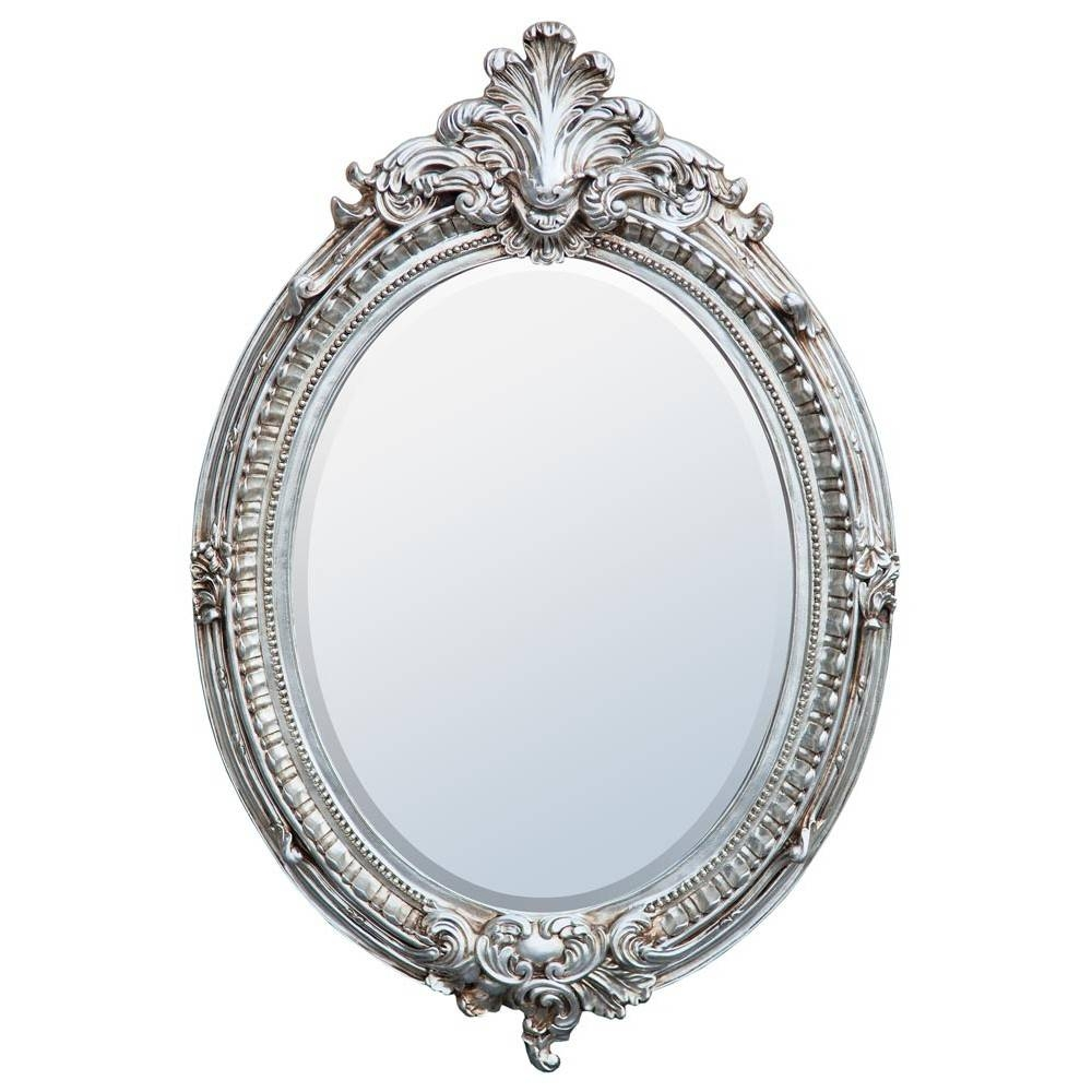 Champagne Silver Oval Mirror - Mirrors, Furniture, Lighting inside Silver Oval Mirrors (Image 8 of 25)