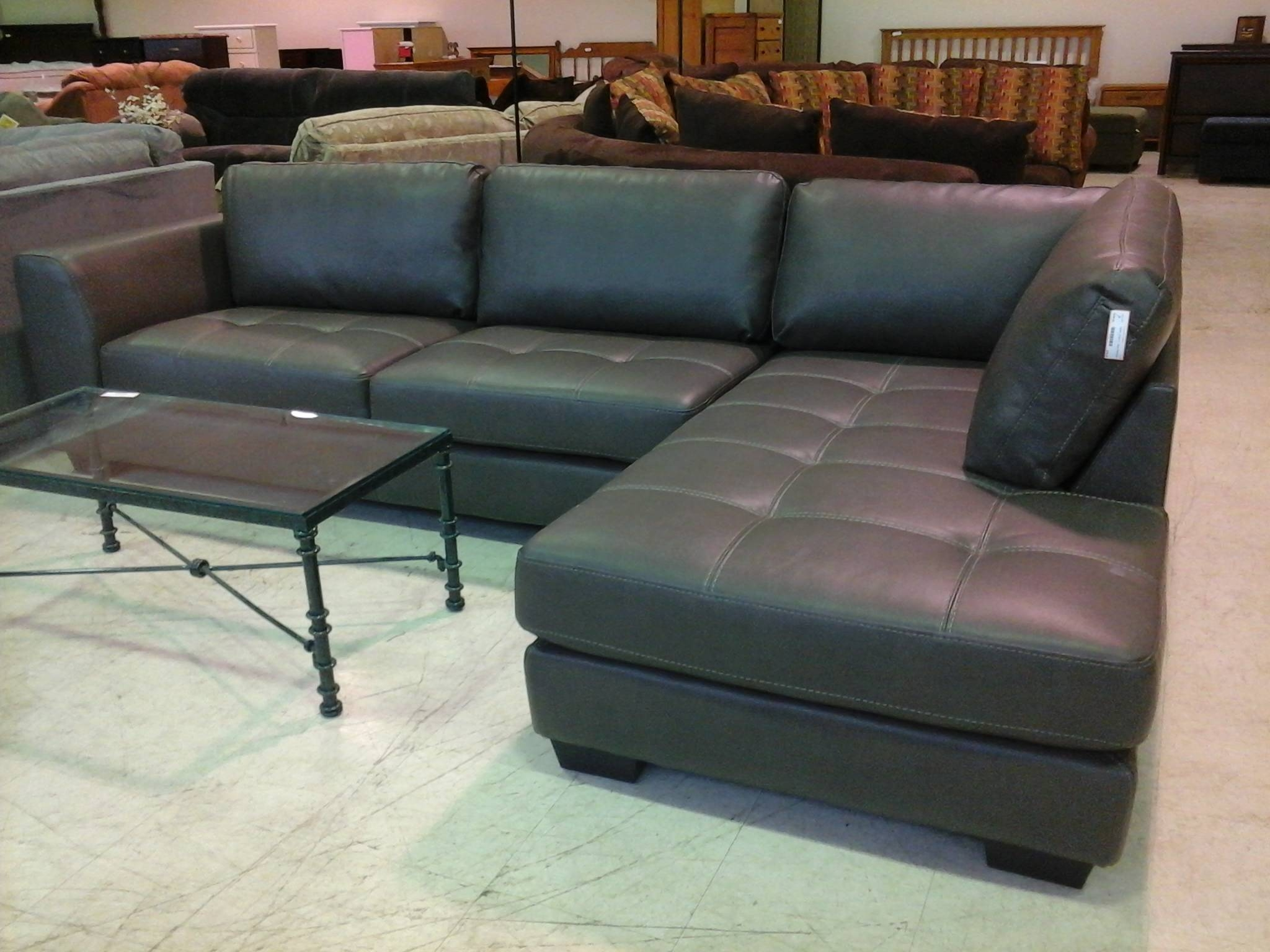 Charcoal Gray Leather Sectional Sofa | Tehranmix Decoration in Charcoal Grey Sofas (Image 6 of 30)