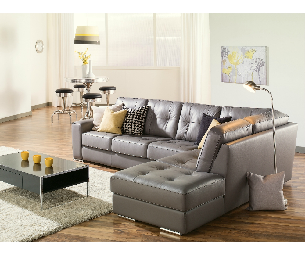 Charcoal Gray Leather Sectional Sofa | Tehranmix Decoration within Gray Leather Sectional Sofas (Image 6 of 30)