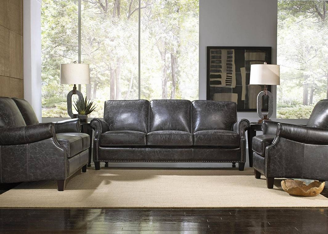 Charcoal Top Grain Vintage Leather Sofa with Vintage Leather Sectional Sofas (Image 6 of 30)