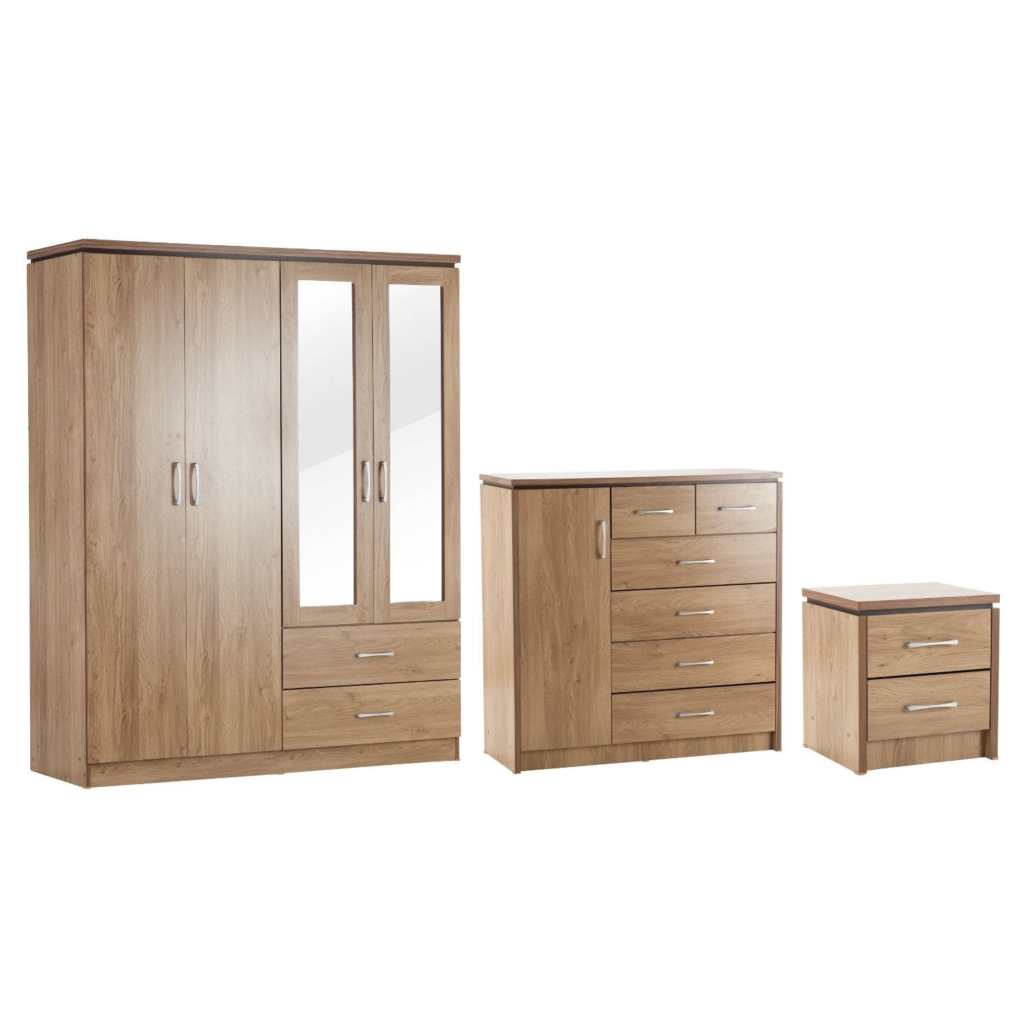 Charles 4 Door Wardrobe, 1 Door 6 Drawer Chest And Bedside Set Pertaining To Wardrobes And Chest Of Drawers Combined (View 14 of 15)