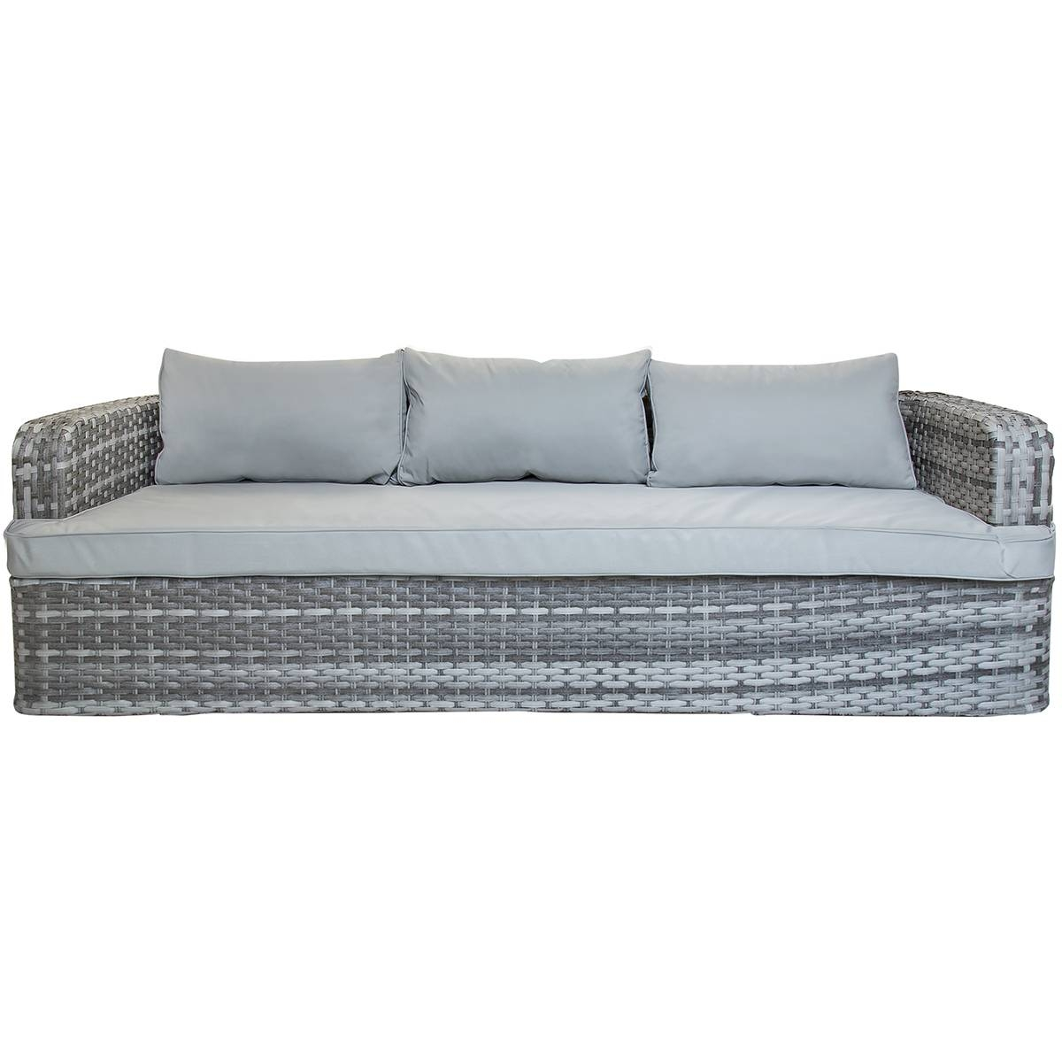 Charles Bentley Rattan Sofa With Two Large Footstools Table Grey regarding Large Footstools (Image 16 of 30)