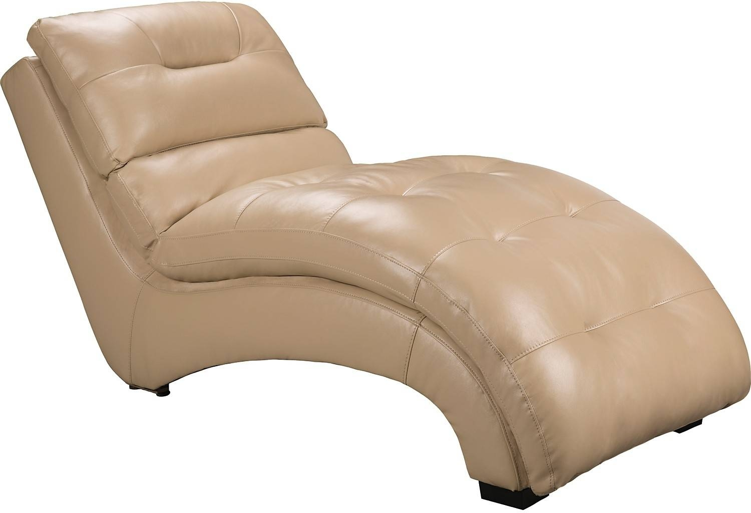 Charlie Faux Leather Curved Chaise - Cream | The Brick in The Brick Leather Sofa (Image 9 of 30)