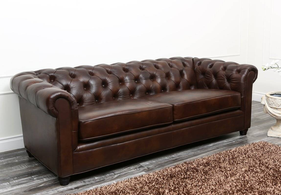Charlton Home Molly Leather Chesterfield Sofa & Reviews | Wayfair regarding Leather Chesterfield Sofas (Image 4 of 30)
