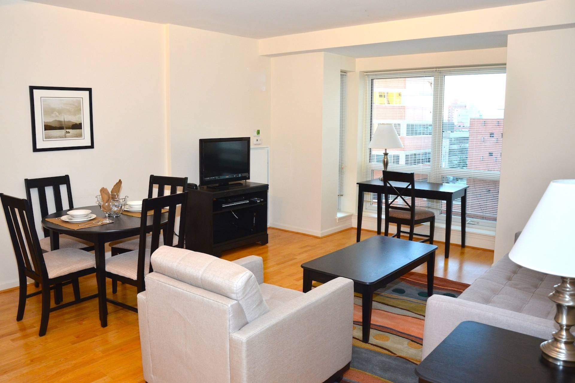 Charming Furnished Studio Apartment Design With Living And Dining With Coffee Table And Tv Unit Sets (View 6 of 30)