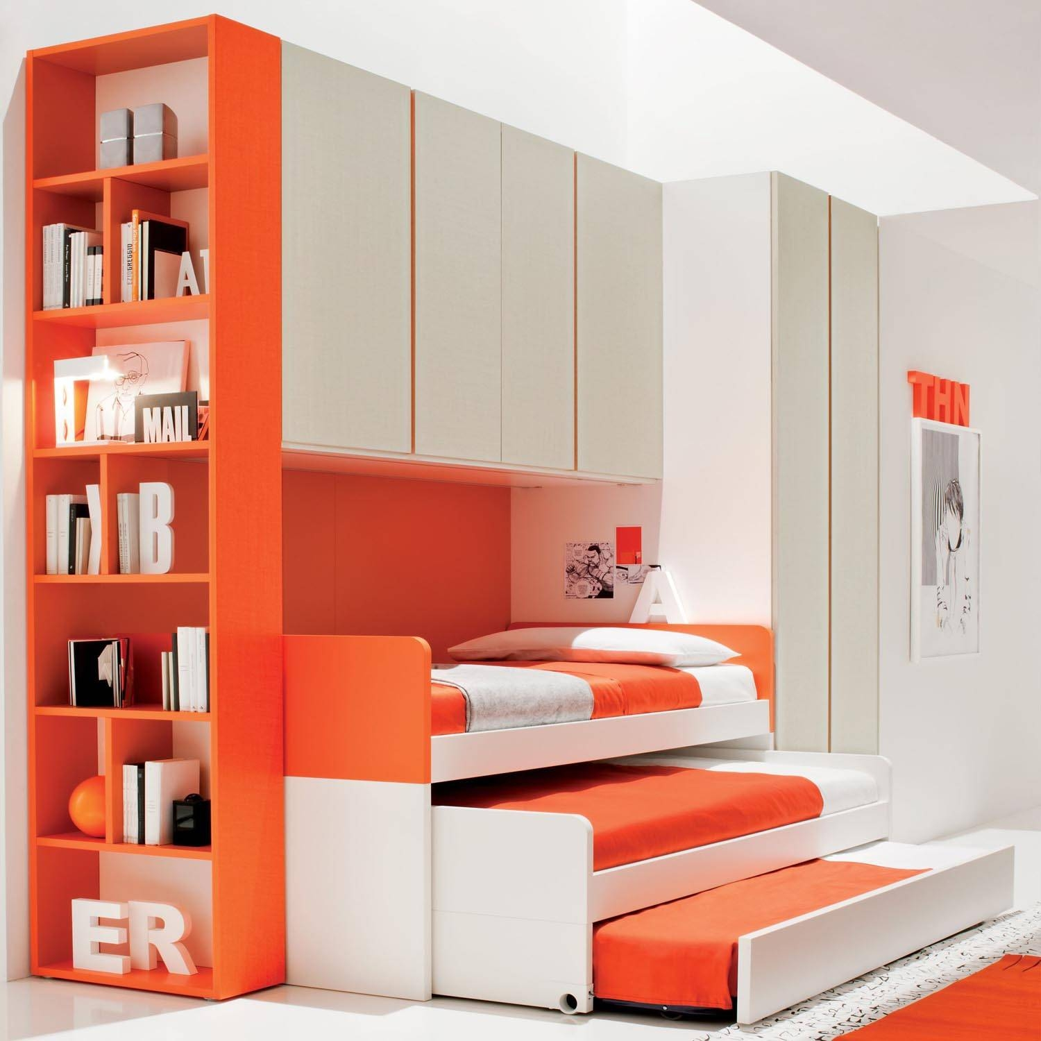 Charming Modern Bedroom Furniture For Kids With White Paint Walls pertaining to Childrens Wardrobes With Drawers and Shelves (Image 6 of 30)