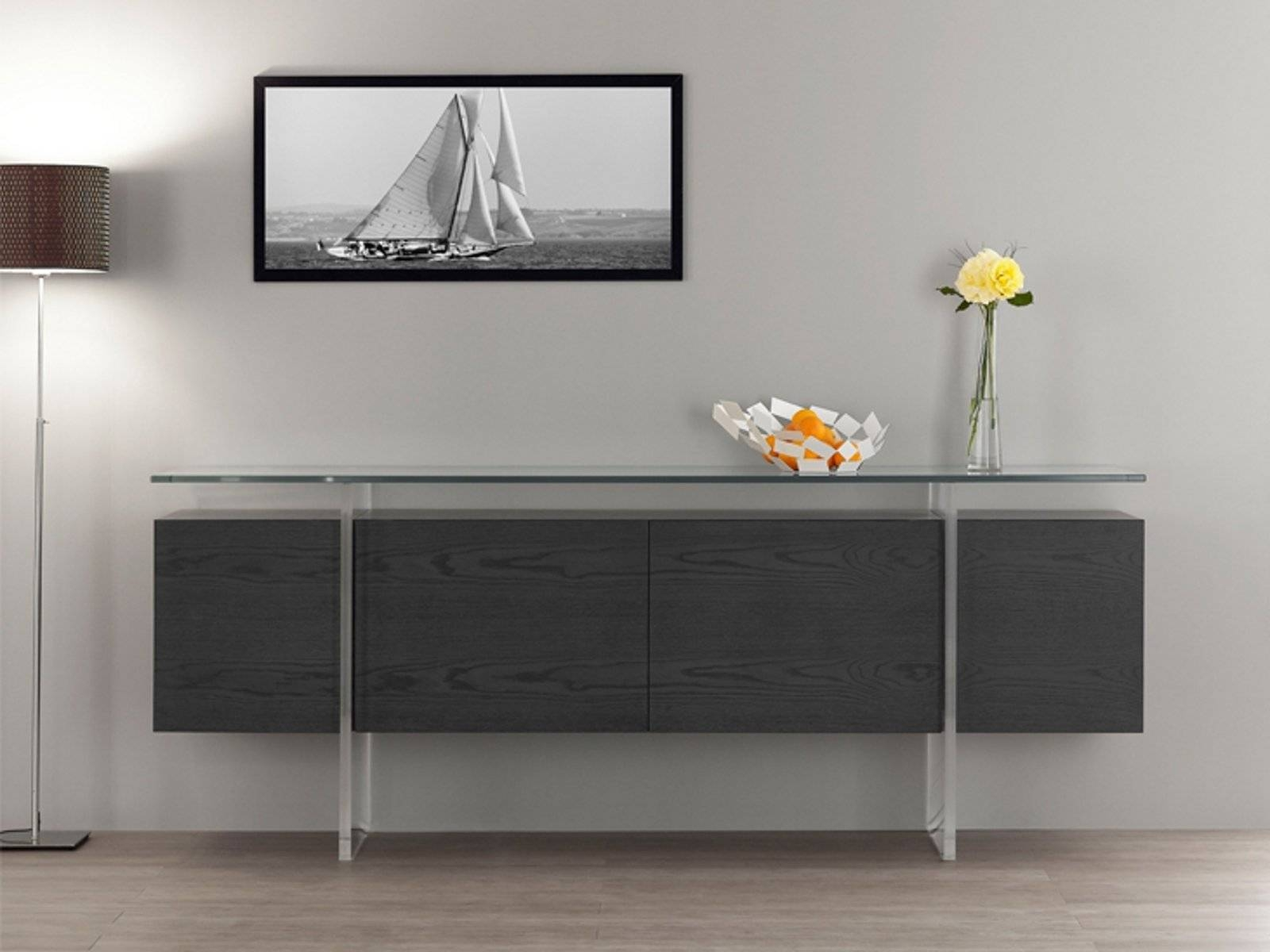 Charming Three Cabinet With Sliding Doors Grey Oak Sideboard pertaining to Grey Wood Sideboards (Image 6 of 30)