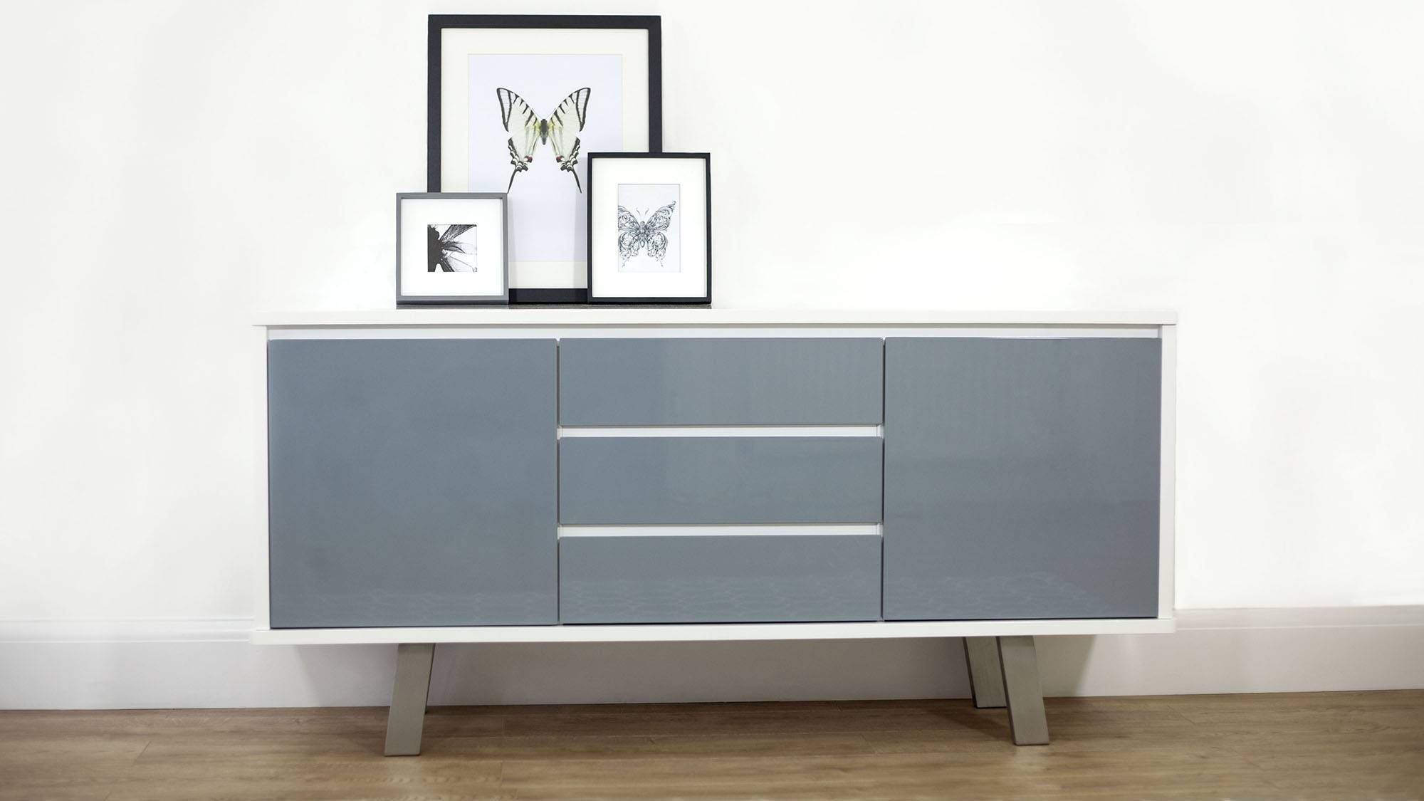Charming Three Cabinet With Sliding Doors Grey Oak Sideboard with regard to Dark Grey Sideboards (Image 10 of 30)