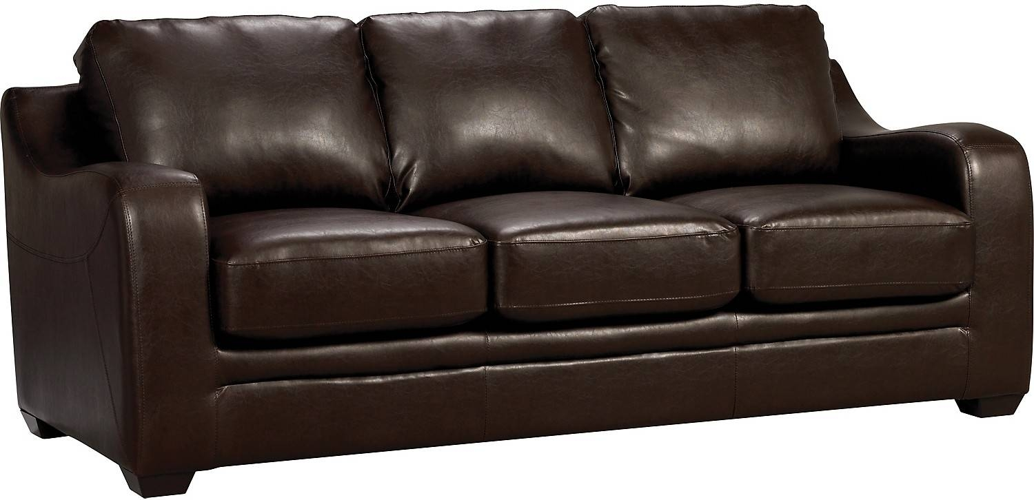 Chase Brown Faux Leather Sofa The Brick Regarding Synthetic pertaining to The Brick Leather Sofa (Image 10 of 30)